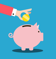 money pig and coin in hand on blue background vector image