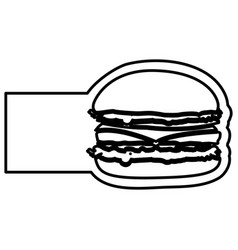 monochrome contour with hamburger and banner vector image
