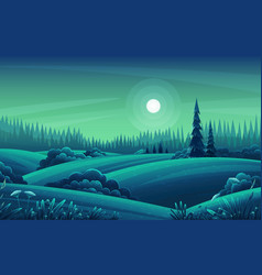 night landscape with hills dark forest fir-trees vector image