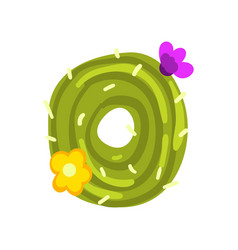 O letter in the form of cactus with blooming vector