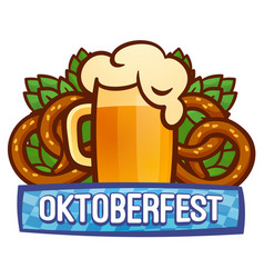 Oktoberfest festival logo cartoon style vector