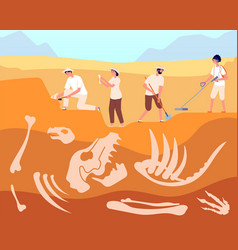 Paleontologist archeologist discovery reptile vector