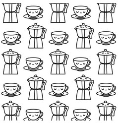 pattern teapots with cups kawaii style vector image
