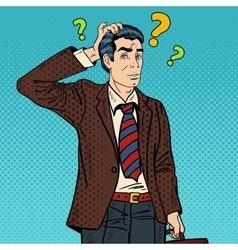 Pensive Pop Art Businessman Making Decision vector