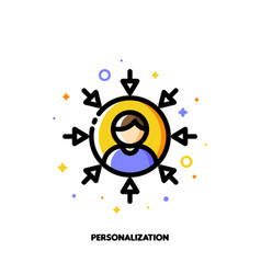 personalization of social media marketing icon vector image