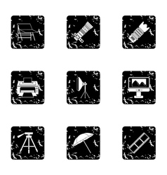 Photographing icons set grunge style vector