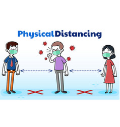 Physical distancing man with covid-19 coughing vector
