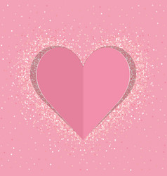 pink paper love heart with shimmer vector image