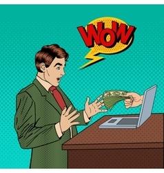 Pop Art Business Man Receiving Money from Laptop vector