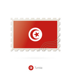 Postage stamp with image tunisia flag vector