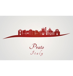 Prato skyline in red vector image