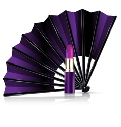purple fan and lipstick vector image