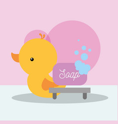 rubber duck toy and soap bubbles bathroom vector image
