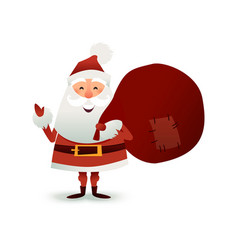 Santa claus with sack full of gift and present vector