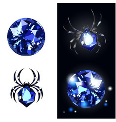 sapphire spider and sapphire gems on black vector image