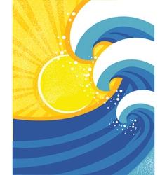 sea waves poster sea landscape vector image