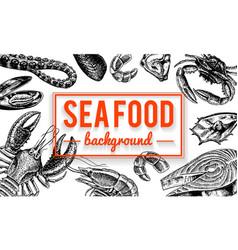 seafood background crustaceans shrimp lobster vector image