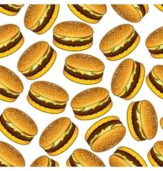 Seamless hamburgers pattern on white background vector image