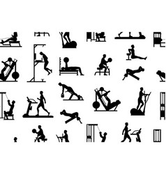 Seamless pattern with men doing exercises vector