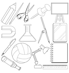 set of school related objects vector image vector image