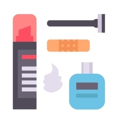 Shaving icons set vector image