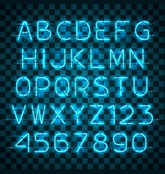 Shining and glowing blue neon alphabet and digits vector