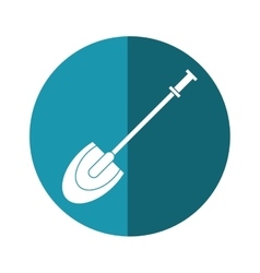 Shovel tool element camping blue circle shadow vector