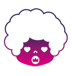 Sihouette boy head with curly hair and in love vector