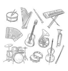 Sketch musical instruments drum harp flute vector