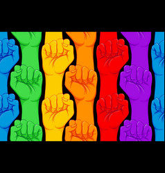 Striped hand showing fist raised up gay rights vector