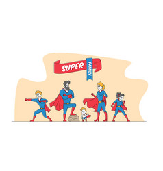 Super family mommy daddy and children vector