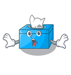 Surprised cartoon tissue box on a sideboard vector