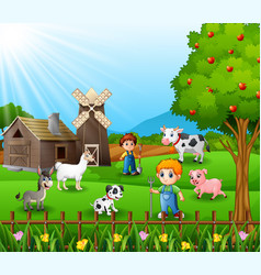 The farmers working in farm with the animals vector