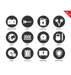 Tools icons on white background vector image vector image