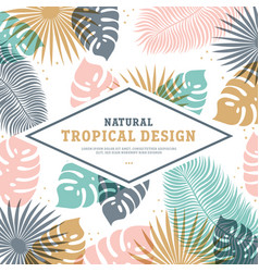 tropical template in pastel colors with place for vector image