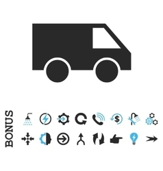 Van Flat Icon With Bonus vector image
