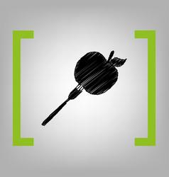 vegetarian food sign black vector image
