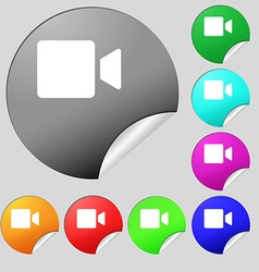 Video camera icon sign Set of eight multi-colored vector