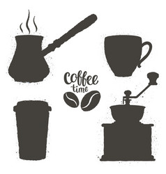 vintage coffee objects set vector image