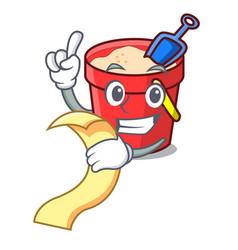 With menu sand bucket mascot cartoon vector
