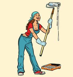 woman painter paints the walls vector image