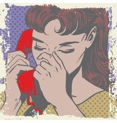 Woman talking on the phone sad pop art comics vector