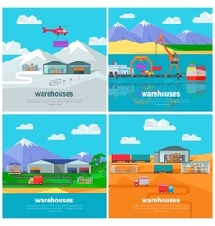 Worldwide Warehouse Logistics containers shipping vector