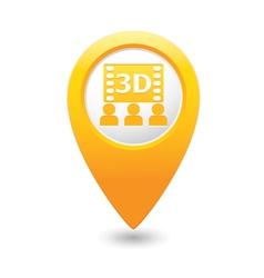 3d cinema icon yellow pointer vector image vector image