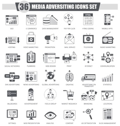 Media adversiting black icon set Dark grey vector image vector image