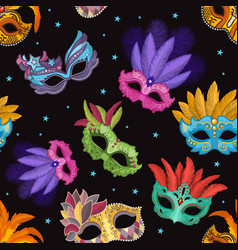 seamless pattern set with carnival mask party vector image