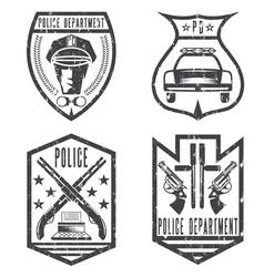 set of grunge vintage police law enforcement vector image vector image