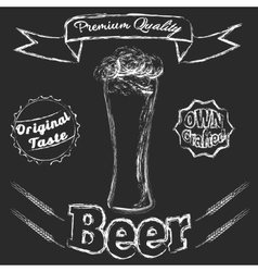 Chalk Glass of beer vector image vector image