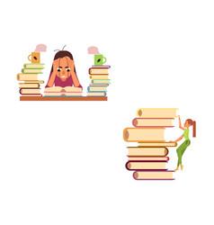 flat education work stress overwork set vector image