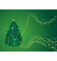 green Christmas tree greeting card vector image vector image
